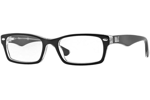 Ray-Ban RB5206 2034 Acetate Eyeglasses, Black/Transparent Frame, Clear 52mm Lenses