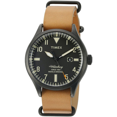 Timex TW2P64700ZA Men's The Waterbury Analog Display Quartz Watch, Brown Leather Band, Round 40mm Case