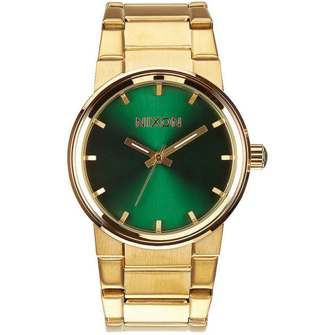 Nixon A1601919 Men's Cannon Gold/Green Sunray Analog Watch, Gold Stainless Steel Band, Round 40mm Case