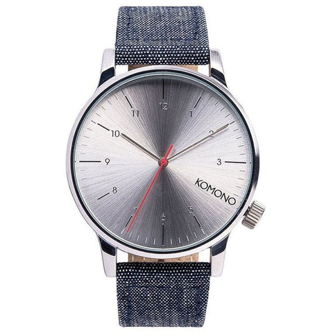 Komono KOM-W2101 Winston Heritage Chambray Analog Display Quartz Watch, Blue Canvas Band, Round 49mm Case