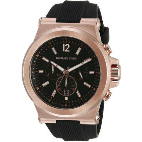 Michael Kors MK8184 Dylan Analog Display Chronograph Quartz Watch, Black Silicone Band, Round 45mm Case