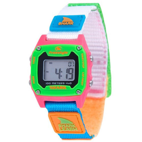 Freestyle 10022930 Unisex Shark Leash Mini Black/Neon Digital Display Watch, Multicolor Nylon Band, Tonneau 30mm Case