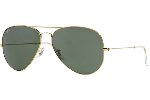 Ray-Ban RB3026 L2846 Aviator Large Metal II Sunglasses, Gold Frame, Green 62mm Lenses