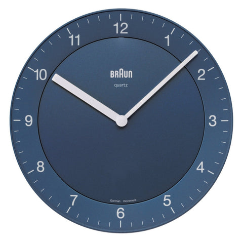 Braun BNC006BLBL Analog Display Quartz Wall Clock, Round 201mm Case, Blue