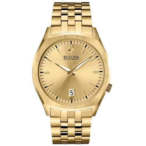 Bulova 97B134 Unisex Accutron II Surveyor Analog Display Quartz Watch, Gold Stainless Steel Band, Round 41mm Case