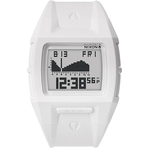 Nixon A364100 Men's Lodown S White Digital Watch, White Polyurethane Band, Rectangle 40mm Case