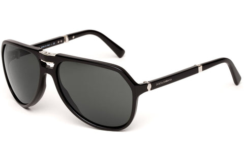 Dolce & Gabbana DG4196 501/R5 Small Sicilian Hinge Folding Sunglasses - Black Frame - Gray 61mm Lenses