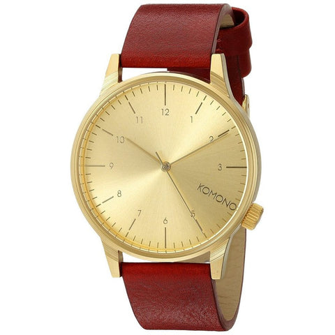 Komono KOM-W2250 Winston Regal Red Analog Quartz Watch, Red Leather Band, Round 41mm Case