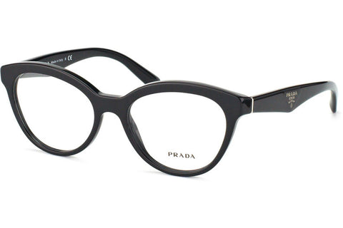 Prada PR11RV 1AB/1O1 Eyeglasses, Black Frame, Clear 50mm Lenses