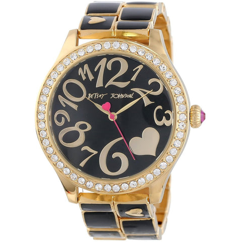 Betsey Johnson BJ00198-02 Women's Analog Display Quartz Watch - Gold And Black Bracelet - Round 42mm Case