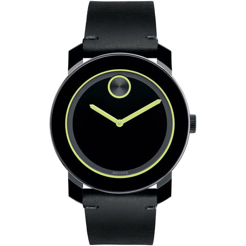 Movado 3600273 Bold Analog Display Quartz Watch, Black Leather Band, Round 42mm Case