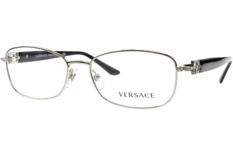 Versace VE 1226B 1000 Eyeglasses, Silver Frame, Clear 52mm Lenses