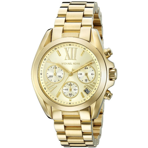 Michael Kors MK5798 Bradshaw Analog Display Chronograph Quartz Watch, Gold Stainless Steel Band, Round 36mm Case