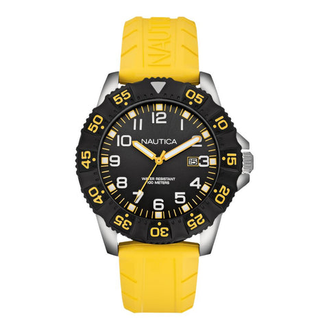 Nautica N12642G NSR 103 Men's Analog Display Quartz Watch, Yellow Rubber Band, Round 45mm Case