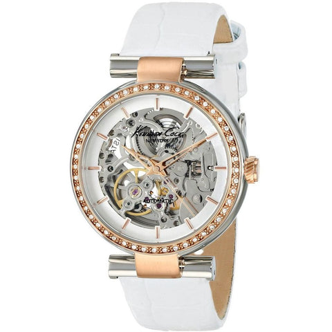 Kenneth Cole KC2861 Automatic Women's Analog Watch, White Leather Band, Round 36mm Case