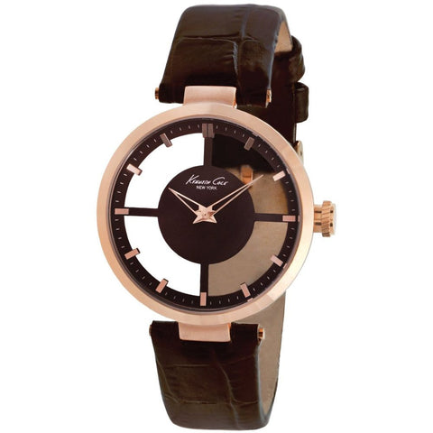Kenneth Cole KC2647 Transparent Women's Analog Quartz Watch, Brown Leather Band, Round 32mm Case