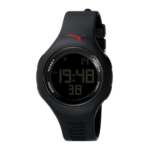 Puma PU910801005 Loop Unisex Digital Watch, Black Rubber Band, Round 43mm Case