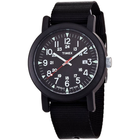Timex T2N364 Originals Camper Analog Display Quartz Watch, Black Nylon Band, Round 40mm Case