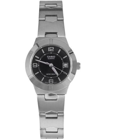 Casio LTP-1241D-1A Analog Display Quartz Watch, Silver Stainless Steel Band, Round 25mm Case