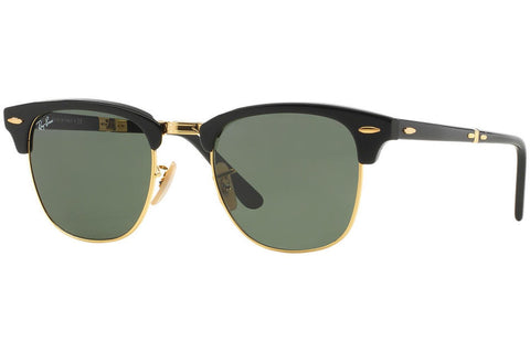 Ray-Ban RB2176 901 Clubmaster Folding Sunglasses, Black Frame, Green 51mm Lenses