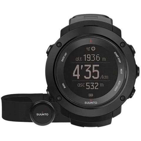 Suunto SS021964000 Ambit3 Vertical Black (HR) Digital Display Quartz Watch, Black Silicone Band, Round 50mm Case