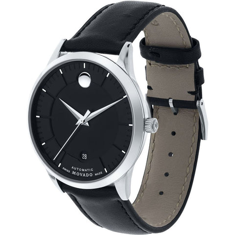 Movado 0606873 1881 Automatic Analog Display Automatic Watch, Black Leather Band, Round 39.5mm Case