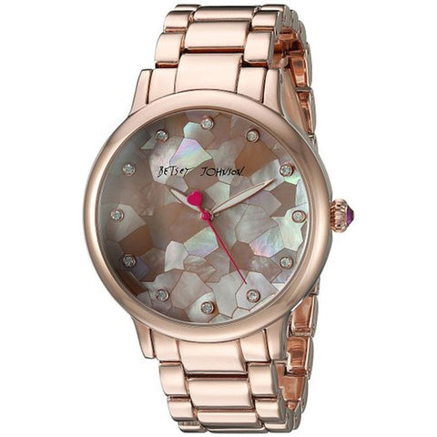 Betsey Johnson BJ00531-08 Women's Analog Display Quartz Watch, Rose Gold Stainless Steel Band, Round 39mm Case