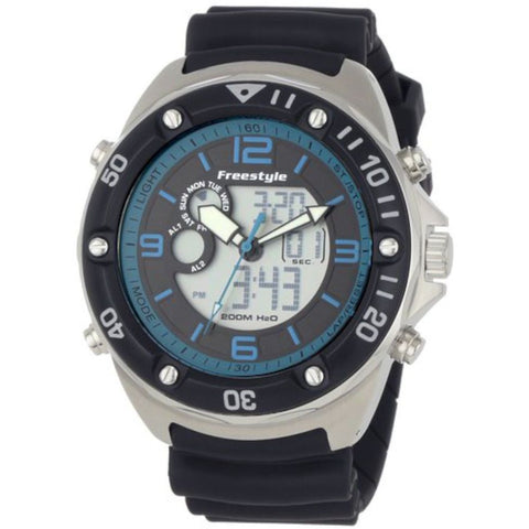 Freestyle Men's FS84945 The Precision 2.0 Black/Blue Analog-Digital Dual Time Watch, Black Polyurethane Band, Round 48mm Case