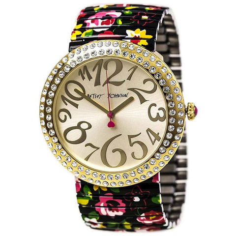Betsey Johnson BJ00214-09 Women's Analog Display Quartz Watch, Floral Printed Stainless Steel Band, Round 48mm Case
