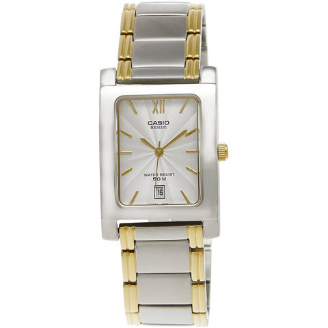 Casio BEM-100SG-7A Analog Display Quartz Watch, Two Tone Stainless Steel Band, Rectangle 28mm Case
