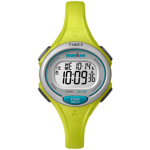 Timex TW5K90200 Ironman Essential 30 Women's Digital Display Quartz Watch, Yellow Resin Band, Round 35mm Case