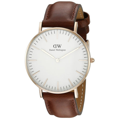 Daniel Wellington 0507DW Women's Classic St. Mawes Analog Display Quartz Watch, Brown Leather Band, Round 36mm Case