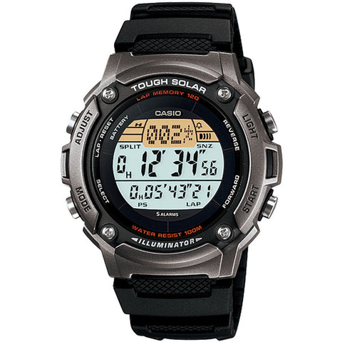 Casio W-S200H-1AVDF Digital Display Solar-Powered Watch, Black Resin Band, Round 44mm Case