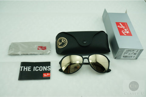 Ray-Ban RB4201 622/5A Alex Sunglasses, Black Frame, Gold Mirror 59mm Lenses