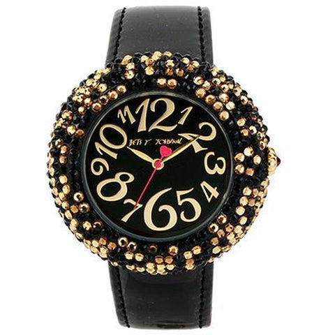 Betsey Johnson BJ00234-02 Analog Display Quartz Watch, Black Leather Band, Round 46mm Case