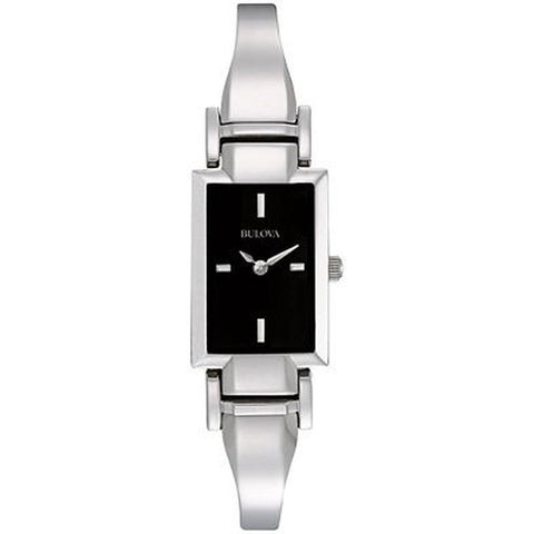 Bulova 96L138 Women's Classic Analog Display Quartz Watch, Silver Stainless Steel Band, Rectangle 19mm Case