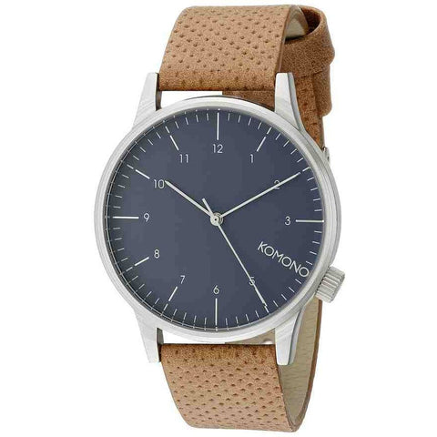 Komono KOM-W2000 Winston Blue Cognac Analog Quartz Watch, Brown Leather Band, Round 41mm Case