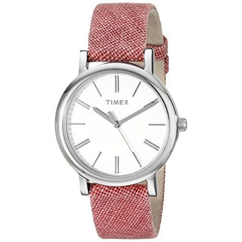 Timex TW2P63600AB Modern Originals Classic Women's Analog Display Quartz Watch, Red Fabric Band, Round 32mm Case