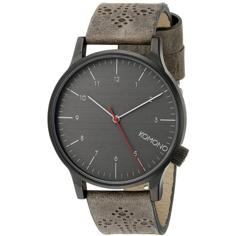 Komono KOM-W2014 Winston Brogue Charcoal Analog Quartz Watch, Grey Leather Band, Round 41mm Case
