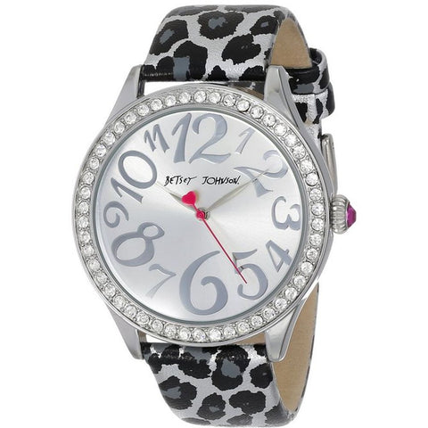 Betsey Johnson BJ00131-09 Women's Analog Display Quartz Silver Watch, Leopard Printed Leather Band, Round 42mm Case