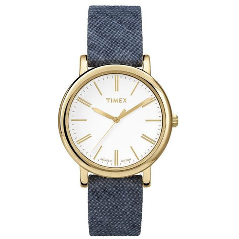 Timex TW2P63800AB Orignals Small Women's Analog Display Quartz Watch, Blue Linen Fabric Band, Round 33mm Case