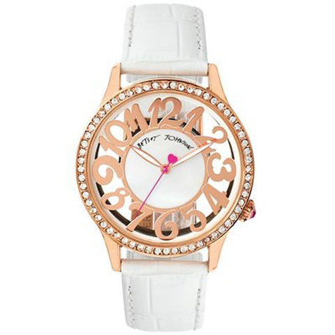Betsey Johnson BJ00331-03 Women's Analog Display Quartz Watch, White Leather Band, Round 41mm Case