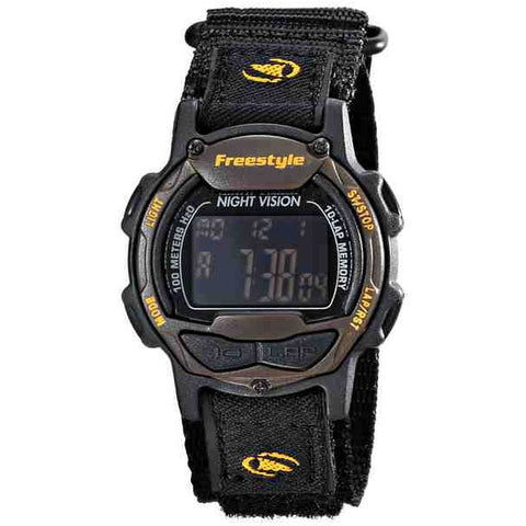 Freestyle Unisex 10017013 Predator Orange/Black Digital Watch, Black Nylon Band, Round 40mm Case