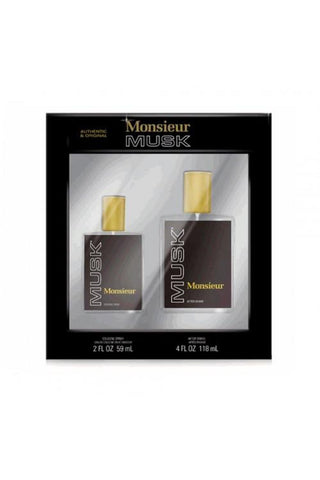 Monsieur Musk 2 Pcs Set For Men: 2 Oz Col Sp + 4 Oz Aftershave