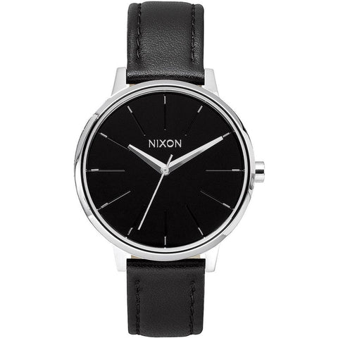 Nixon A108000 Women's Kensington Leather Black Analog Display Quartz Watch, Black Leather Band, Round 37mm Case