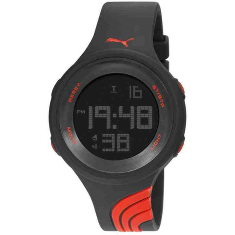 Puma Men's PU911091001 Twist L Digital Watch, Black Plastic Band, Round 44mm Case
