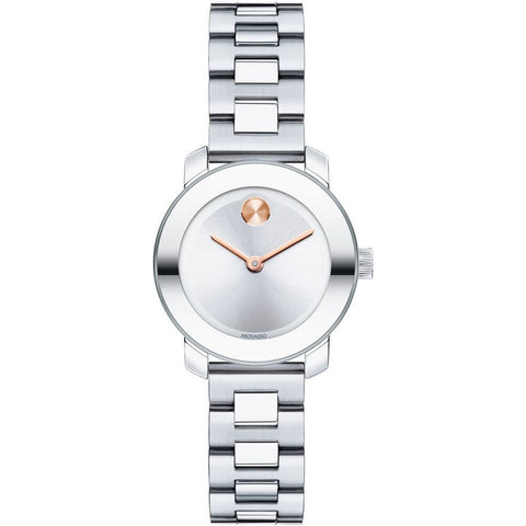 Movado 3600234 Bold Analog Display Quartz Watch, Silver Stainless Steel Band, Round 25mm Case