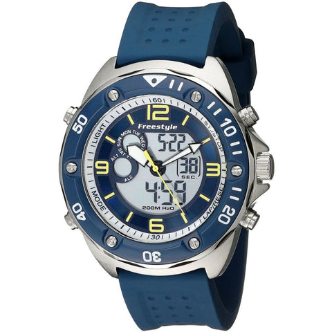 Freestyle Men's 10022922 Presicion 2.0 Navy Analog and Digital Watch, Blue Silicone Band, Round 40mm Case
