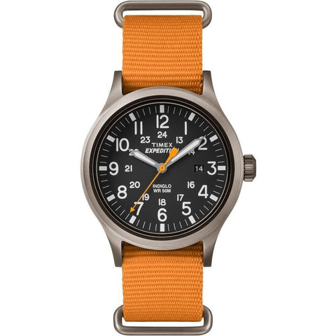 Timex TW4B046009J Expedition Scout Men's Analog Display Quartz Watch, Orange Nylon Band, Round 40mm Case
