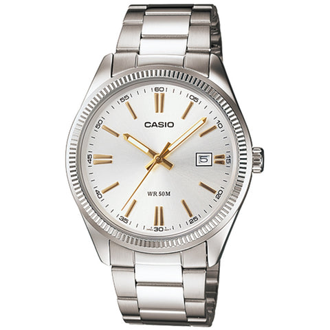 Casio MTP1302D-7A2V Men's Analog Display Quartz Watch, Silver Stainless Steel Band, Round 39mm Case